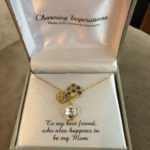 Beautiful Mom Charm Necklace Swarovski  Crystals.